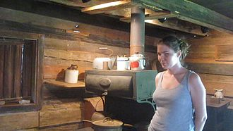 Germantown Colony and Museum - Guide Amanda Steiner, a descendant of the Krouses, at Germantown Museum