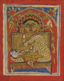 Miniature of Gautamasvāmin seated, in the typical Śvetāmbara monastic dress and holding a rosary, 15th century (British Library Or 2126A).png
