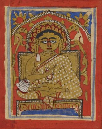 Indrabhuti Gautama - Miniature of Indrabhuti Gautama seated, in the typical Śvetāmbara monastic dress and holding a rosary, 15th century