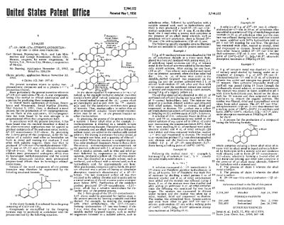 Patent of the first orally highly active progestin, which led to the development of the oral contraceptive, elected to the USA Inventors Hall of Fame. Miramontes patent.jpg