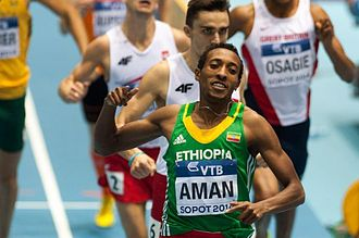 2014 IAAF World Indoor Championships – Men's 800 metres - Mohammed Aman finishing first in the final