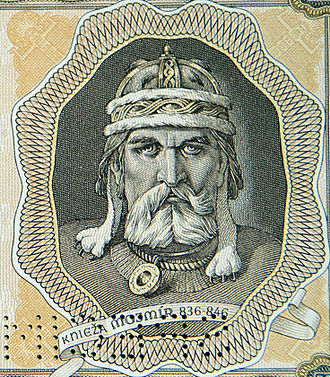 Mojmir I of Moravia - Mojmir I on a banknote of the Slovak state (1944).