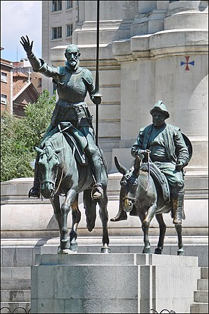 English: Bronze statues of Don Quixote and San...