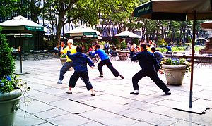 Morning Tai Chi in Bryant Park. Most likely Ch...