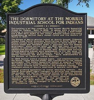 Morris Industrial School for Indians - Plaque at dormitory of Morris Industrial School for Indians