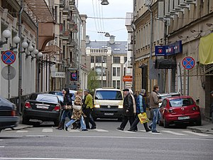 Overspill parking - Cars parked on the sidewalk in Moscow