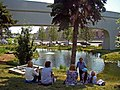 Moscow. People are resting near the pond in Zaryadye Park.jpg