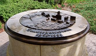 Federal Reserve Bank of Minneapolis - Several sculptures on the Federal Reserve grounds depict growth along the river front area of Minneapolis