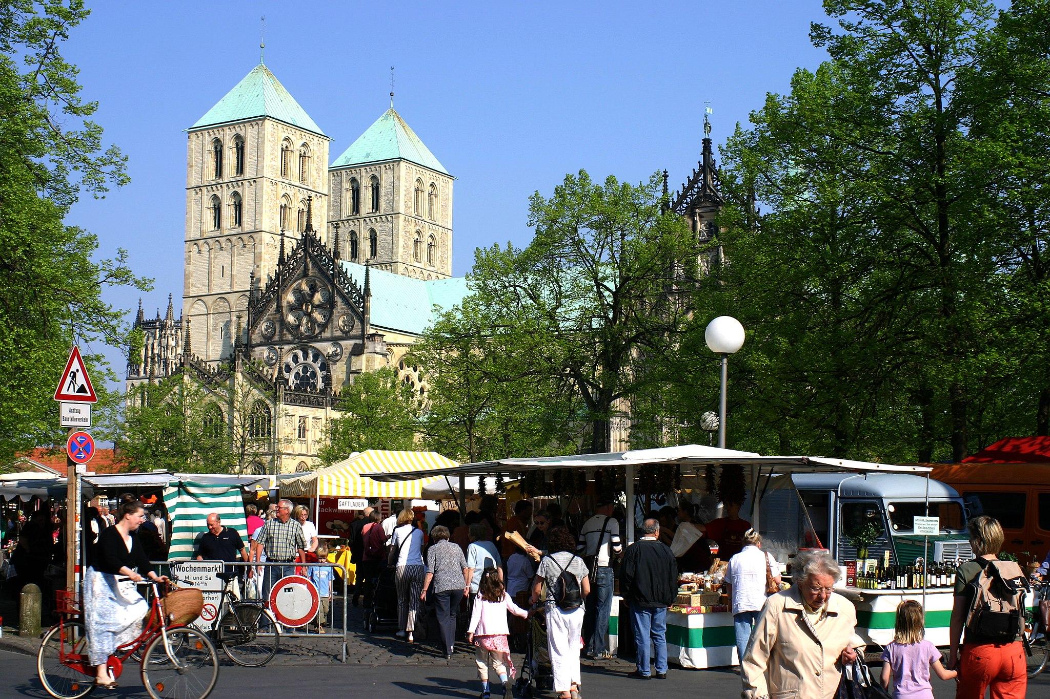 Muenster Domplatz Wochenmarkt 5941
