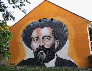 Srpska Crnja - Image: Mural of Đura Jakšić in Srpska Crnja