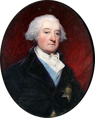 Murrough O'Brien, 1st Marquess of Thomond - Murrough O'Brien, 1st Marquess of Thomond KP, PC (1726–1808), 5th Earl of Inchiquin (1777–1800), wearing purple coat, white waistcoat, pale blue sash and breast star of the Order of Saint Patrick (Henry Bone)