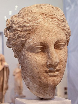 Marble head of a woman, probably Hygieia, foun...