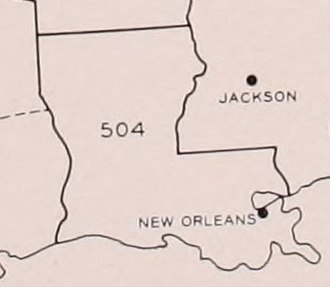 Area code 504 - Area code 504 as of 1947-1957.