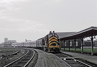 New York, Chicago and St. Louis Railroad - Nickel Plate train number 5, City of Chicago at Englewood Union Station on April 21, 1965.