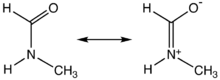 Principal resonance structures for one rotamer of NMF