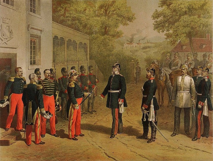 Surrender of Napoleon III after the Battle of Sedan, 1 September 1870 Napoleon ubergibt seinen Degen.JPG