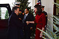 Natalie Jones, the acting chief of protocol of the U.S., meets with Juan Manuel Santos Calderon, the president of the Republic of Columbia, during his arrival to the White House in Washington, Dec. 3, 2013 131203-A-VS818-051.jpg