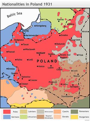 Dominating nationalities in Poland around 1931.