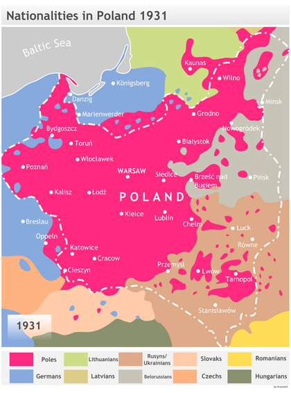 Dominant ethnicities in and around Poland, 1931, according to Polish historian Henryk Zielinski. Nationalities in Second Polish Republic ca. 1931.png