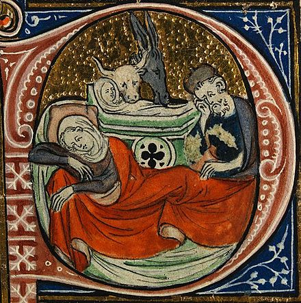 The Nativity, from a 14th-century Missal; a liturgical book containing texts and music necessary for the celebration of Mass throughout the year Nativity from Sherbrooke Missal cropped.jpg