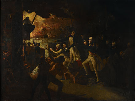 Battle of the Nile, 1 August 1798, Daniel Orme, 1805, National Maritime Museum. Nelson returns on deck after his wound is dressed. Nelson at the Battle of the Nile.jpg