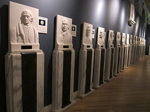 Vermont Marble Museum - Hall of Presidents - reliefs carved from marble
