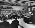 News Conference. Assistant Press Secretaries Malcolm Kilduff, Andrew Hatcher, President Kennedy, members of press.... - NARA - 194184.tif