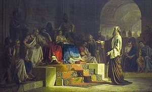 Herod Agrippa II - Apostle Paul On Trial by Nikolai Bodarevsky, 1875. Agrippa and Berenice are both seated on thrones.
