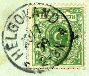 Postage stamps and postal history of Heligoland - Postmark from Heligoland, dated 1899-07-23. Non-'Germania' 5 pfennig stamp.