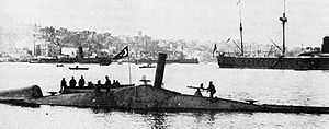 Thorsten Nordenfelt - Nordenfelt class Ottoman submarine Abdülhamid (1886) was the first submarine in history to fire a torpedo whilst submerged. Two submarines of this class, Nordenfelt II (Abdülhamid, 1886) and Nordenfelt III (Abdülmecid, 1887) joined the Ottoman fleet. They were built in pieces by Des Vignes (Chertsey) and Vickers (Sheffield) in England, and assembled at the Taşkızak Naval Shipyard in Istanbul, Turkey.