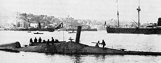 Basil Zaharoff - The Nordenfelt-class Ottoman submarine ''Abdül Hamid'' (1886), it was the first submarine in history to fire a torpedo whilst submerged. Two submarines of this class, Nordenfelt II (Abdülhamid, 1886) and Nordenfelt III (Abdülmecid, 1887) joined the Ottoman fleet. They were built in pieces by Des Vignes (Chertsey) and Vickers (Sheffield) in England, and assembled at the Taşkızak Naval Shipyard in Istanbul, Turkey.