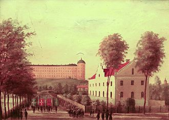 Scandinavism - A meeting of Scandinavian students in Uppsala, Sweden, 1856. Parade marching next to Svandammen.
