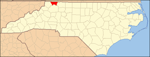 National Register of Historic Places listings in Alleghany County, North Carolina - Image: North Carolina Map Highlighting Alleghany County