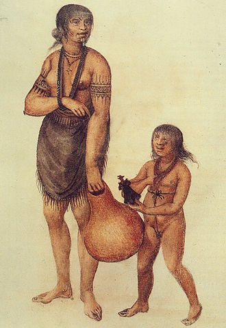 John White (colonist and artist) - Mother and child of the Secotan Indians in North Carolina. Watercolour painted by John White in 1585.