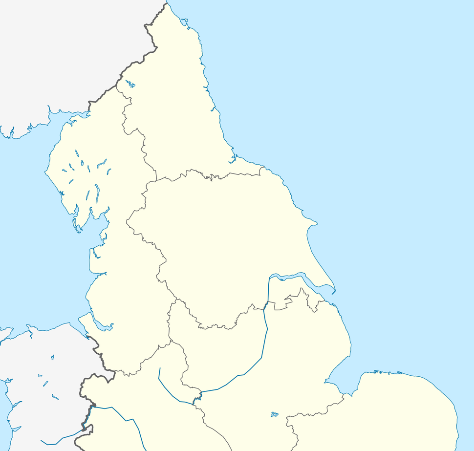 A map of Northern England, with the seven international airports highlighted.