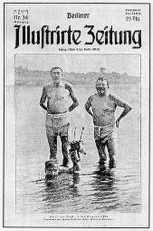"Gustav Noske - Noske and Friedrich Ebert in the infamous ""bathing suit picture"", 16 July 1919."