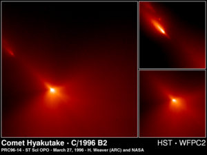 Comet Hyakutake - The region around the nucleus of Comet Hyakutake, as seen by the Hubble Space Telescope. Some fragments can be seen breaking off.