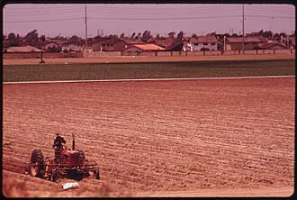 Orange County, California - One of the few remaining farms near the ocean, 1975.  Photo by Charles O'Rear.