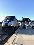Oakland Coliseum Amtrak Station Capitol Corridor Train 741 to San Jose arrives lead by F59PHI 2011.jpg