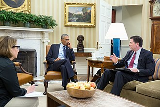 James Comey - Obama receives an update from Comey and Homeland Security Advisor Lisa Monaco on the 2016 Orlando nightclub shooting, June 12, 2016