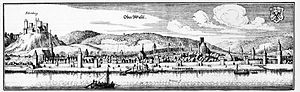 Oberwesel - Historical portrait of the town with complete town wall (copper engraving by Matthäus Merian, 17th century)