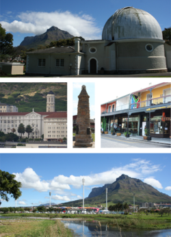 Top: One of the historic buildings at the former Royal Observatory, Cape of Good Hope. Middle left: Groote Schuur Hospital. Centre Middle: A World War I monument. Middle right: Cafes on lower main road in Observatory. Bottom: Observatory's soccer and hockey stadium looking towards Devil's Peak.