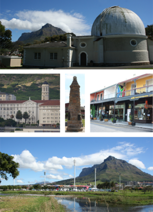 Observatory, Cape Town - Top: One of the historic buildings at the former Royal Observatory, Cape of Good Hope, (now the headquarters of the South African Astronomical Observatory) after which the area is named.  Middle left: Groote Schuur Hospital.  Centre Middle: A World War I monument in the centre of the Neighborhood.  Middle right: Cafes on lower main road in Observatory.  Bottom:  A view of Observatory's soccer and hockey stadium looking towards Devil's Peak.