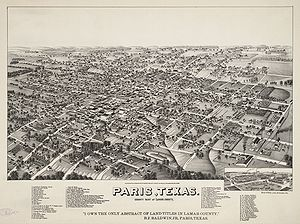 Paris, Texas - Map of the city in 1885