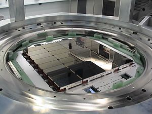 VLT Survey Telescope - The OmegaCAM camera lies at the heart of the VST. This view shows its 32 CCD detectors that together create 268-megapixel images.