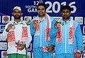 Omkar Singh of India won Gold Medal, Kameel Ullah of Pakistan won Silver Medal and Jitendra Vibhute of India won Bronze Medal in Men's 10m Air Pistol Shooting, at the 12th South Asian Games-2016, in Guwahati.jpg