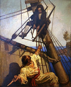 "Treasure Planet - An illustration by N.C. Wyeth titled One More Step, Mr. Hands for a 1911 publication of Treasure Island. This type of illustration, which was described by the film crew as ""classic storybook illustration,"" was the basis for Treasure Planets overall look."