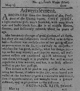 Oney Judge Fugitive slave, enslaved by Martha Washington