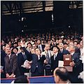 Opening Day of 1961 Baseball Season. President Kennedy throws out first ball. (first row) Vice President Johnson... - NARA - 194197.jpg