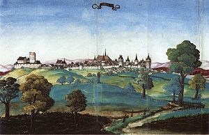 Opole - Oldest known general view of Opole seen from southeast, circa 1535